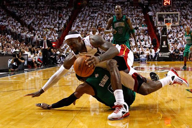 LeBron James #6 Of The Miami Heat Falls Getty Images