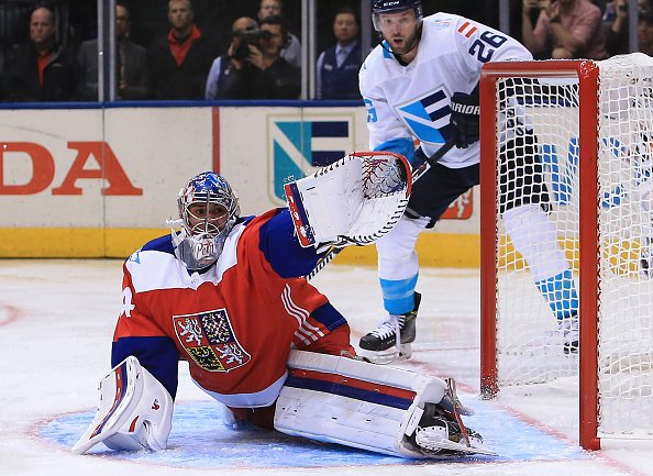 TORONTO, CANADA - SEPTEMBER 19: Petr Mrazek #34 of Team Czech Republic makes a glove save during a World Cup of Hockey 2016 game against Team Europe at Air Canada Centre on September 19, 2016 in Toronto, Canada. (Photo by Vaughn Ridley/World Cup of Hockey via Getty Images)
