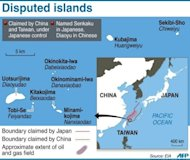 Graphic showing disputed islands claimed by China and controlled by Japan