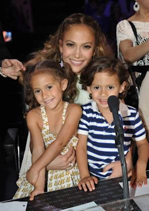 : Judge Jennifer Lopez (C) with daughter Emme (L) and son Max at FOX's American Idol Season 11 Top 4 To 3 Live Elimination Show on May 10, 2012 in Hollywood, California -- Getty Images