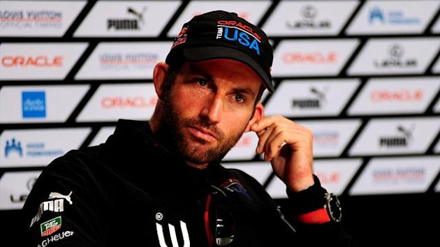 UNITED STATES, San Francisco : Helmsman Sir Ben Ainslie reacts during a media conference after Oracle Team USA won the 34th America's Cup on September 25, 2013 in San Francisco. AFP