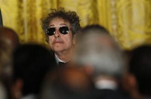 Musician Dylan waits prior to receiving a Presidential Medal of Freedom during a ceremony in the East Room of the White House in Washington