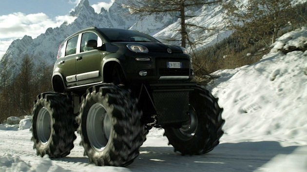 The Fiat Panda has been given a dramatic makeover - into a monster truck (SWNS)