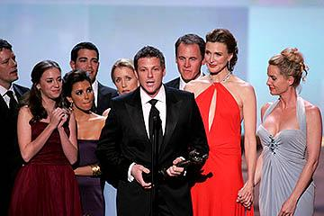 "Doug Savant accepts, with James Denton, Heather Stephens, Eva Longoria, Jesse Metcalfe, Felicity Huffman, Mark Moses, Brenda Strong and Nicollette Sheridan of ""Desperate Housewives"" Outstanding Ensemble in a Comedy Series Screen Actors Guild Awards - 2/5/2005"