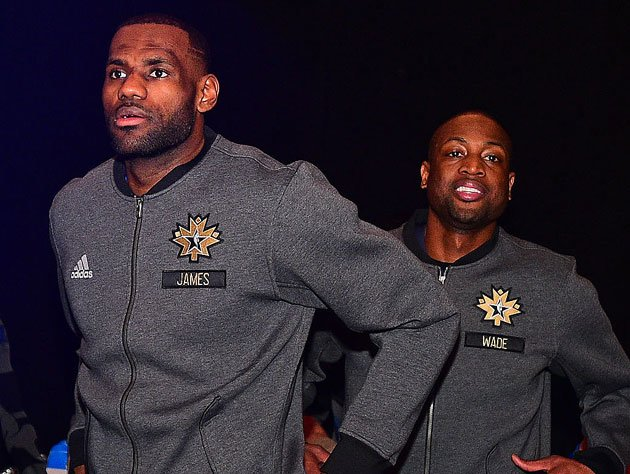 LeBron James and Dwyane Wade warm up. (Getty Images)