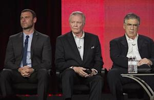 "Schreiber, Voight and Gould of show ""Ray Donovan"" listen to questions on stage during Showtime panel presentation of 2013 Winter Television Critics Association Press Tour at Langham Huntington Hotel in Pasadena, California"