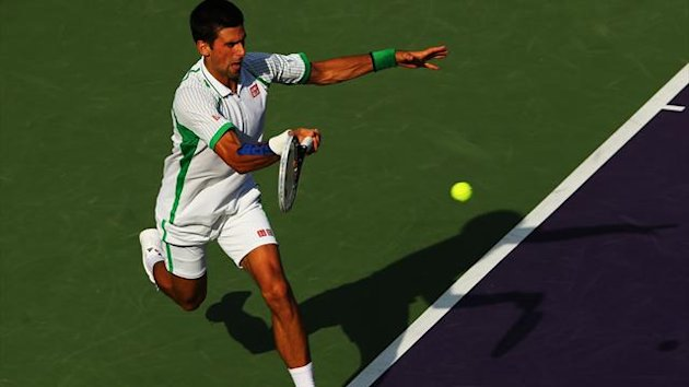 Novak Djokovic in action in Miami (AFP)