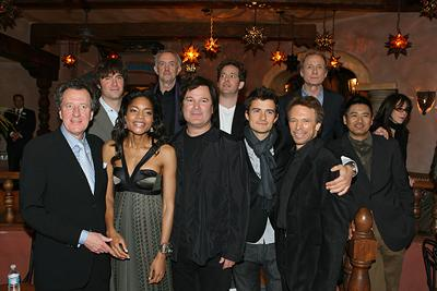Geoffrey Rush ,Jack Davenport , Naomie Harris , Jonathan Pryce , Gore Verbinski , director, Orlando Bloom ,Jerry Bruckheimer , Bill Nighy and Chow Yun-Fat at the Disneyland premiere of Walt Disney Pictures' Pirates of the Caribbean: At World's End