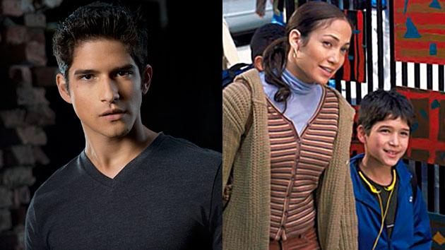 "LEFT: Tyler Posey in ""MTV's ""Teen Wolf"" Seaosn 3. RIGHT: Jennifer Lopez and Tyler Posey in ""Maid in Manhattan."""