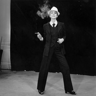 Model wearing suit from Yves Saint Laurent in 1966