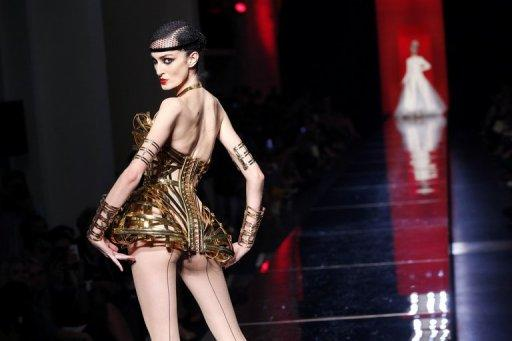 A model presents a creation by French designer Jean-Paul Gaultier