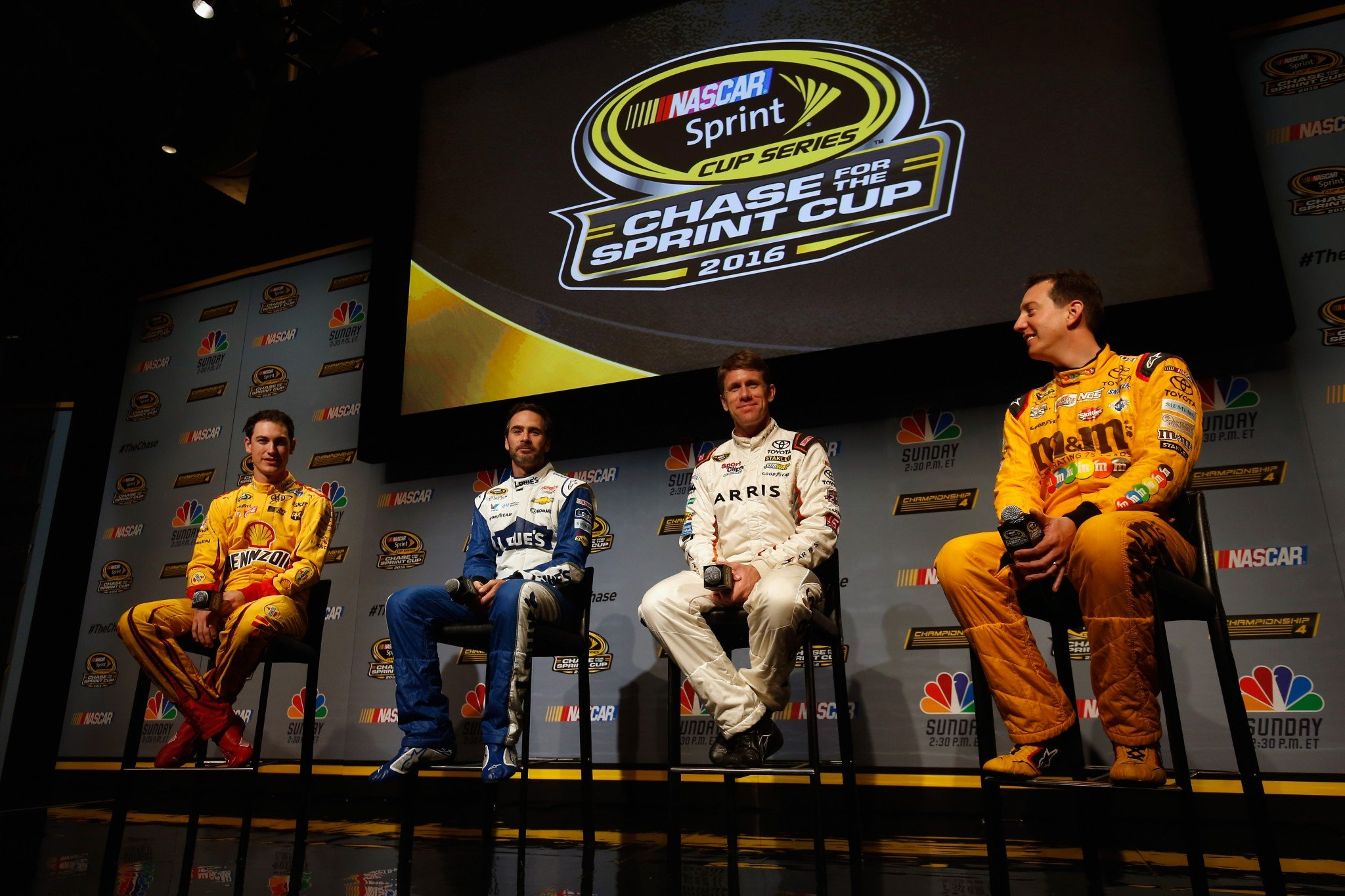 Joey Logano, Jimmie Johnson, Carl Edwards and Kyle Busch were all in a good mood Thursday. (Getty)