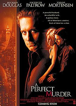 The original movie poster for Warner Brothers' A Perfect Murder