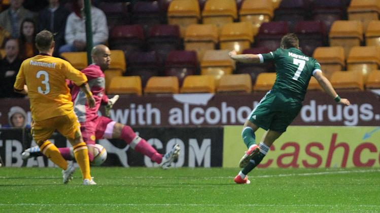 Charis Mavrias scores against Motherwell