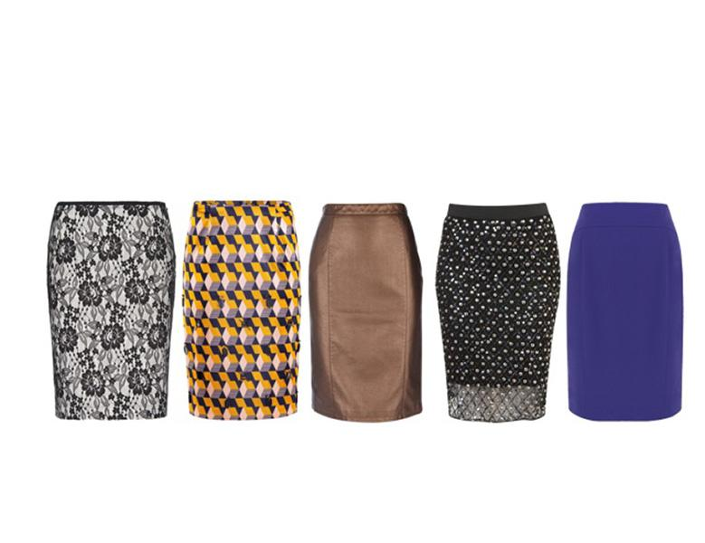 Pencil skirts in stand-out textures, patterns and colors accentuate curves without clinging. From left: Mango, $70; H&M, $65; Wallsfashion.com, $61; Topshop, $70; House of Frazer, $60.