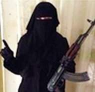 On an account attributed to Umm Hussain al-Britani, this pictured was posted showing a female fighter holding an AK-47