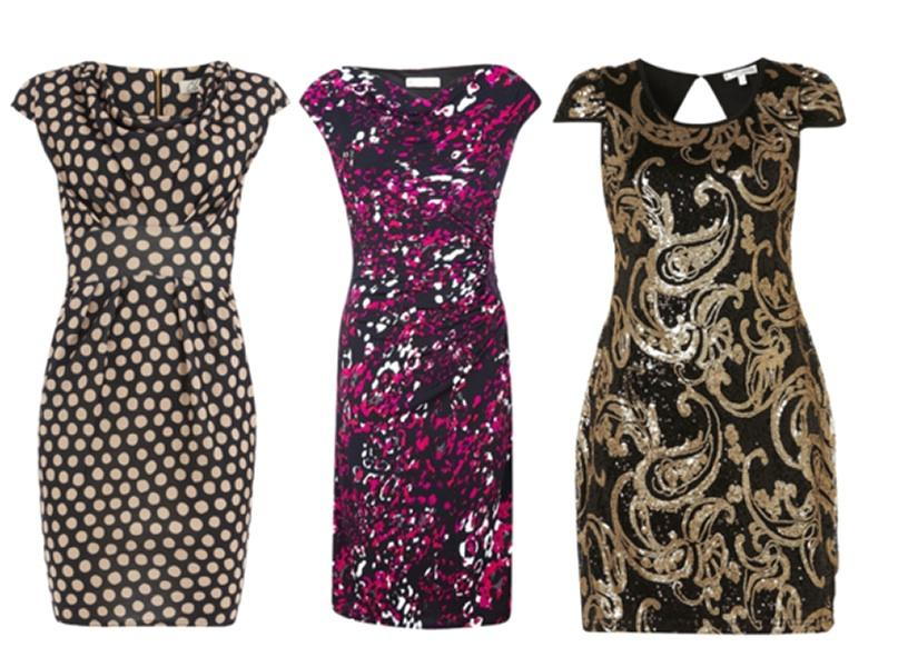 Pear - To balance out a wider lower half, pick a cocktail dress with cap sleeves. The symmetrical silhouette tricks the eye into thinking you're stacked up top AND on the bottom. A bold print camoufla