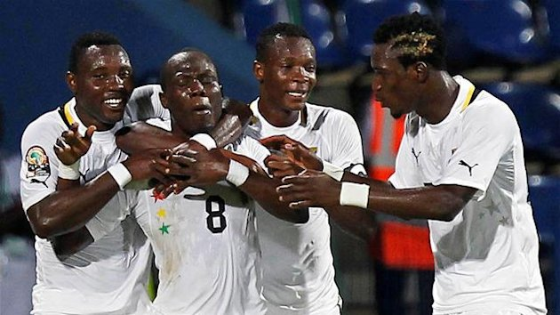 Ghana's Andre Ayew (2nd L) celebrates his goal with teammates during their African Nations Cup quarter-final soccer match against Tunisia at Franceville stadium February 5, 2012
