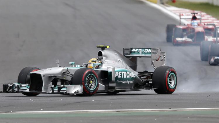 Mercedes Formula One driver Hamilton locks up during the Korean F1 Grand Prix in Yeongam