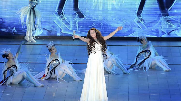 British singer Sarah Brightman performs at the award ceremony for the Beijing Film Festival in Beijing, China on Tuesday April 23, 2013.(AP Photo) CHINA OUT