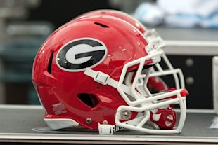 Nov 2, 2013; Jacksonville, FL, USA; A Georgia Bulldogs helmet sits on the sideline during the first half of the game against the Florida Gators at EverBank Field. (Rob Foldy-USA TODAY Sports)