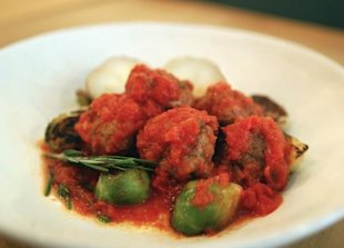 Try a little smoked paprika in your lamb meatballs to freshen up your pasta (Brussels sprouts, pictured, are optional).