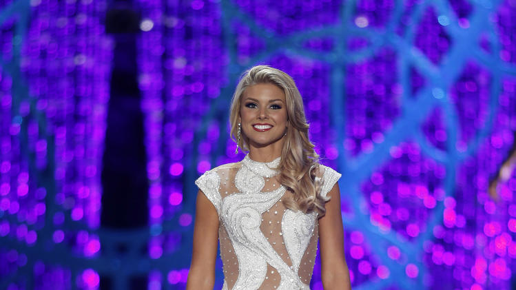 Miss South Carolina Ali Rogers competes in the evening gown portion of the Miss America 2013 pageant on Saturday, Jan. 12, 2013, in Las Vegas. Rogers was named first runner-up. (AP Photo/Isaac Brekken)