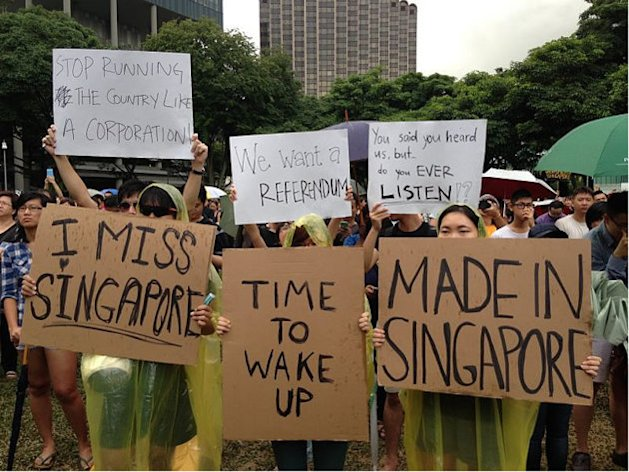 Singaporeans participate in a protest against the Population White Paper released late last month by the government. (Yahoo! photo)