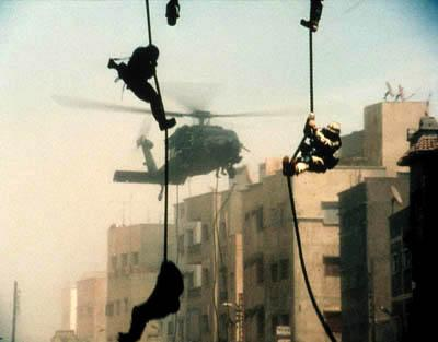 American troops descend upon Mogadishu in Columbia's Black Hawk Down