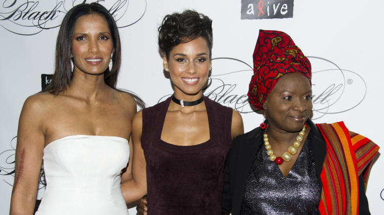 Padma Lakshmi, left, Alicia Keys, center, and Angelique Kidjo attend the Keep a Child Alive's ninth annual Black Ball on Thursday, Dec. 6, 2012 in New York. (Photo by Charles Sykes/Invision/AP)