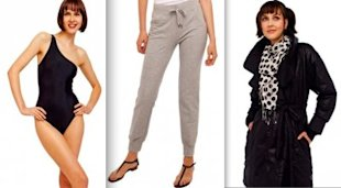 Norma Kamali swimsuit, sweats, and coat, all retail around $20 at Wal-Mart