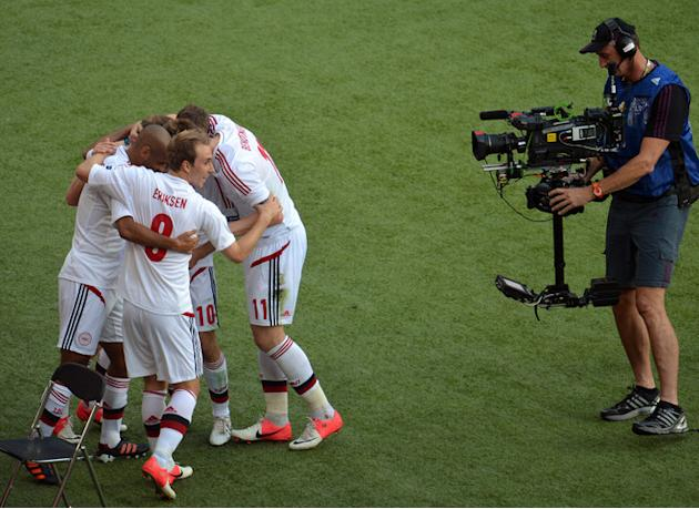 TOPSHOTS Danish Players Celebrate AFP/Getty Images