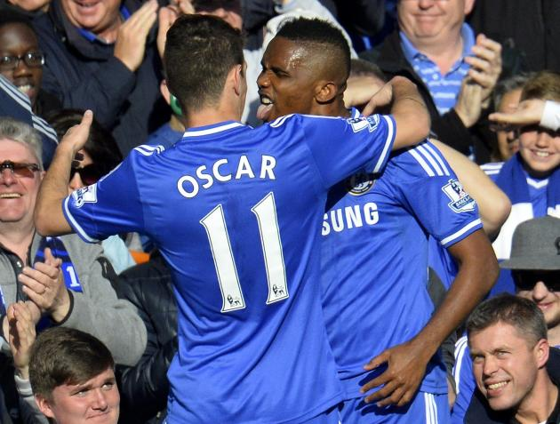Chelsea's Samuel Eto'o celebrates his goal against Sunderland with Oscar during their English Premier League soccer match in London