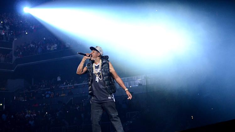 Rapper Jay-Z performs the inaugural concert at the Barclays Center in Brooklyn on Friday Sept. 28, 2012 in New York. (Photo by Evan Agostini/Invision/AP)