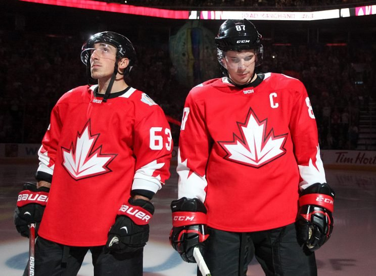 TORONTO, ON - SEPTEMBER 17: Brad Marchand #63 and Sidney Crosby #87 of Team Canada line up prior to the game against Team Czech Republic during the World Cup of Hockey 2016 at Air Canada Centre on September 17, 2016 in Toronto, Ontario, Canada. (Photo by Andre Ringuette/World Cup of Hockey via Getty Images)