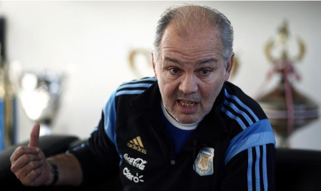 Sabella, head coach of Argentina's national soccer team, gestures during an interview in Buenos Aires