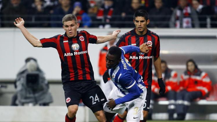 Porto's Martinez challenges Eintracht Frankfurt's Jung during their Europa League soccer match in Frankfurt