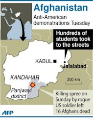 Map showing Jalalabad in eastern Afghanistan where hundreds of university students took to the streets Tuesday to protest a rampage by a US soldier who killed 16 villagers at the weekend