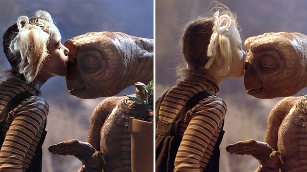 Kiernan Shipka, left, replicates Drew Barrymore's pose with E.T. from the classic 1982 film