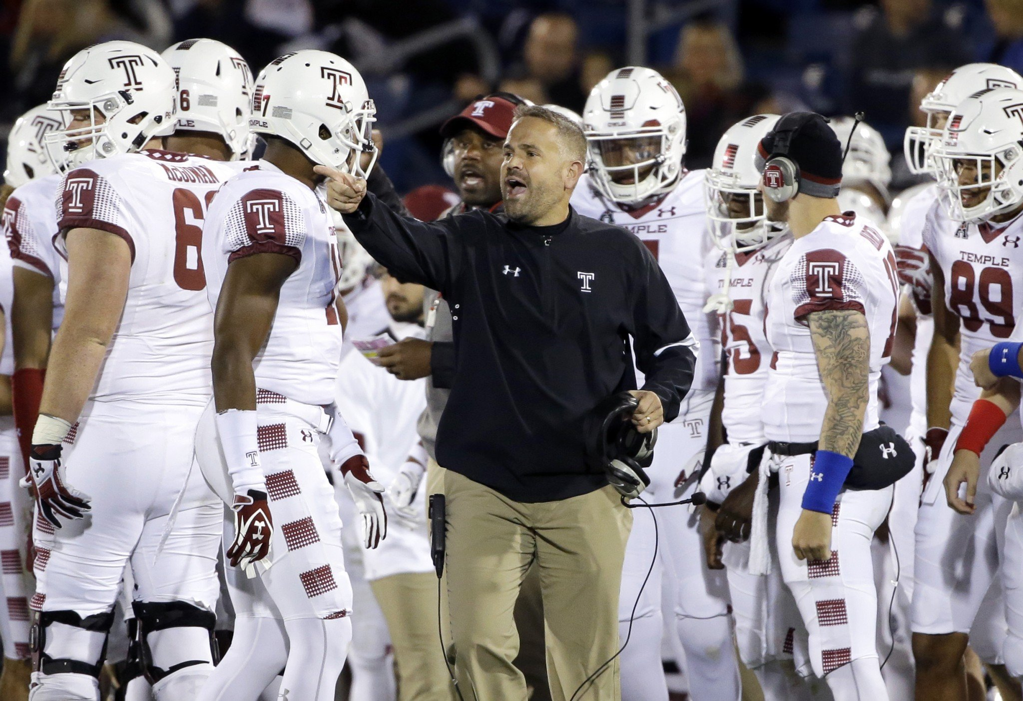 Matt Rhule led Temple to 10 wins and the AAC title this season. (AP Photo/Elise Amendola)