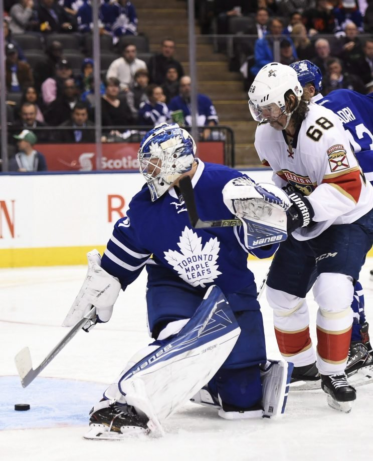 Florida Panthers forward Jaromir Jagr (right) in action versus Toronto Maple Leafs on Thursday at ACC. (Courtesy: Canadian Press)
