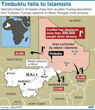 "Map of Mali locating Islamist/rebel held towns, with data on refugee movements. The UN Security Council called for an immediate ceasefire and return to democracy in Mali, prompting an announcement of an end to ""military operations"" by Tuareg rebels in the north."