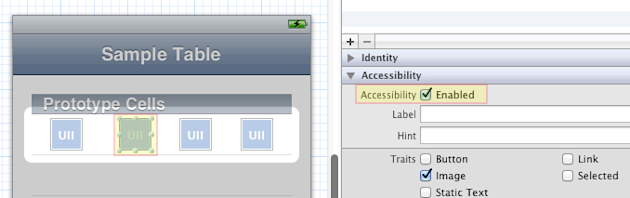 screenshot of Xcode and the accessibility option