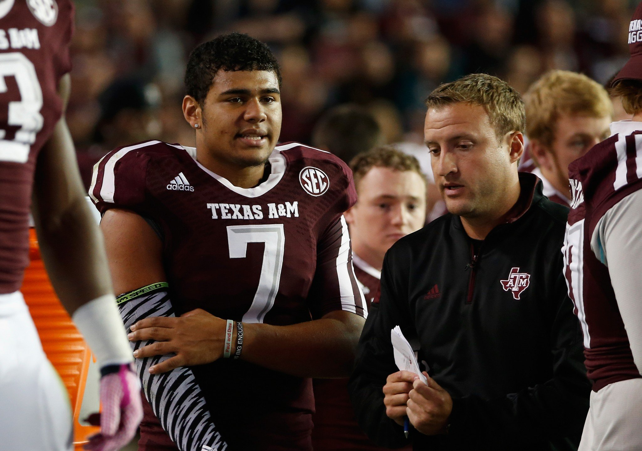 Kenny Hill (7), now at TCU, was coached by Jake Spavital at Texas A&M. (Getty)