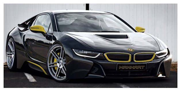 lowered black BMW i8