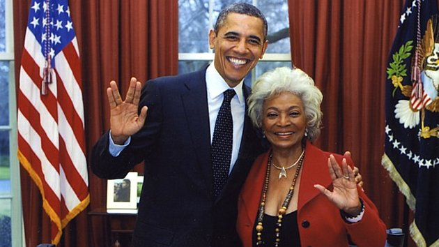 President Obama and 'Star Trek' star Nichelle Nichols in 2012