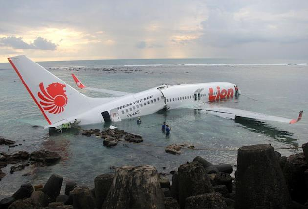 The Lion Air Boeing 737 lying in the water near Bali's Denpasar airport on April 13, 2013