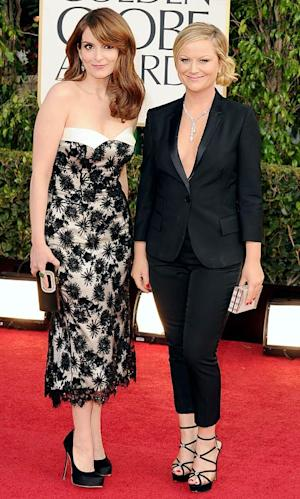 "Tina Fey, Amy Poehler Show Off Matching ""Husband And Wife"" Outfits at Golden Globes"