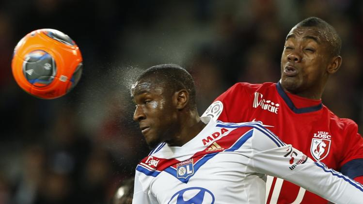 Lille' Kalou fights for the ball with Lyon's Fofana during their French Ligue 1 soccer match in Villeneuve d'Ascq