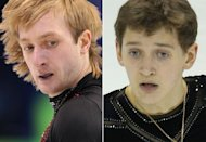 Combination photo of Russian figure skaters Evgeny Plushenko (left) and Maxim Kovtun